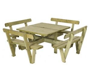 4-kantet bord/bænkesæt med ryglæn