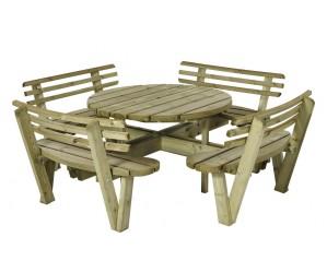 Rundt bord/bænkesæt med ryglæn