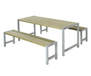 Plankesæt m/ 1 bord og 2 bænke trykimprægneret