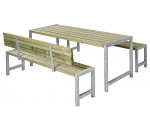 Plankesæt 1 bord, 2 bænke og 1 ryglæn trykimprægneret grå