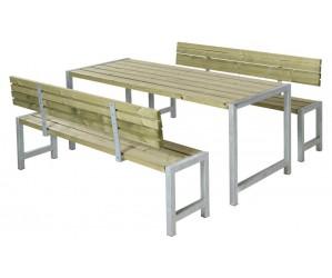 Plankesæt 1 bord, 2 bænke og 2 ryglæn