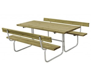 Classic bord/bænkesæt med 2 ryglæn trykimprægneret