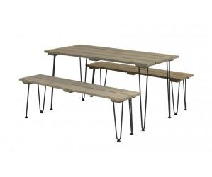 Retro møbelsæt 1 bord + 2 bænke 187400-12