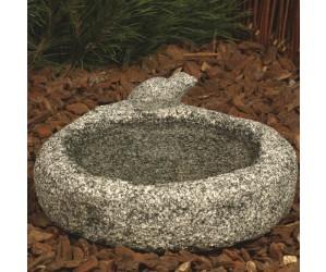 fuglebad i granit med spurv